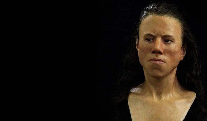 Тази възстановка показва как са изглеждали жените преди 9000 г.  Снимка: Оскар Нилсън
