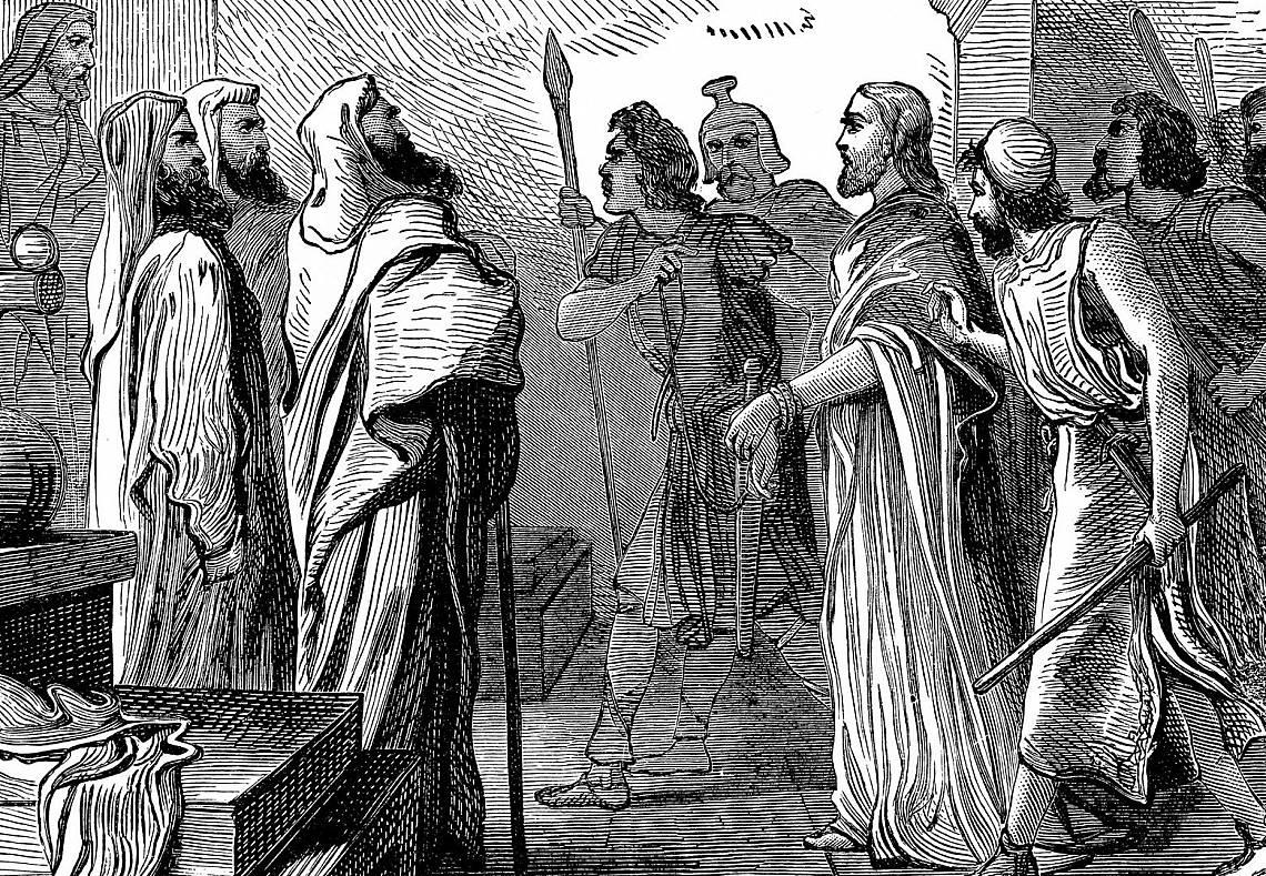 Иисус нарушава хода на процеса, като отказва да отговаря на разпита на Пилат. Илюстрация: iStock