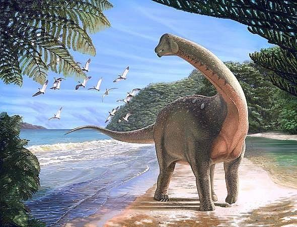 Новият вид титанозавър Mansourasaurus shahinae преди около 80 милиона години. Илюстрация: Андрю Макафий, Carnegie Museum of Natural History