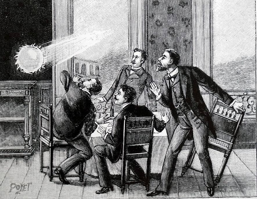 На тази френска илюстрация се вижда как кълбовидна мълния влиза през прозорец – явление, което е било описвано редица пъти. Илюстрация: WORLD HISTORY...