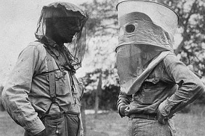Американските мрежи против комари (вляво) позволявали на изследователите да виждат по-добре и да имат по-добра вентилация отколкото английските (вдясн...