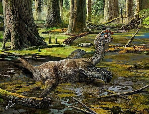 Художествена илюстрация на отчаяната борба на пернатия динозавър, Tongtianlong limosus, при затъването му в калта.