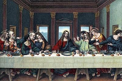 """Този кадър от """"Тайната вечеря"""" на Да Винчи изобразява Исус Христос и дванайсетте апостоли, включително и брат му, Яков (в зелено,..."""