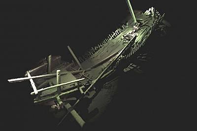 Един от намерените средновековни кораби. Снимката е фотограметричен модел направен от над 4000 снимки с висока резолюция.