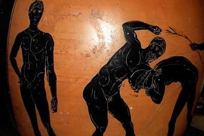 """Двама спортисти се състезават в """"панкратион"""" - свободна борба, при която всичко, освен хапане и измама, било позволено."""