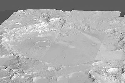 На мозаечен образ виждаме топографята на кратера Гусев.