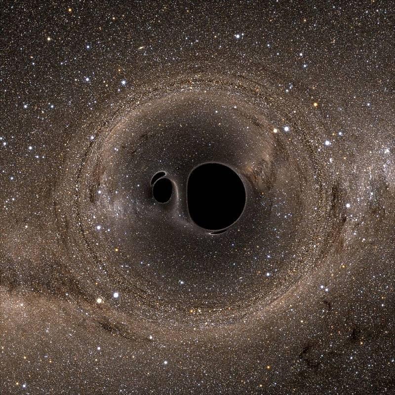 Учените откриха гравитационни вълни, образували се от сливането на две черни дупки. В момента преди сблъска двете черни дупки се поглъщат една друга и...