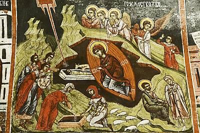 """В стенописа """"Рождество Христово"""" (горе) Витлеемската звезда е изобразена в разрез с църковния канон; по подобен нехарактерен начин..."""