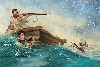 На оръжиеС бялата си риза, черна жилетка и пистолет мъжът във водата изключително много прилича на Хан Соло. Това обачее съвпадение, тъй кат...