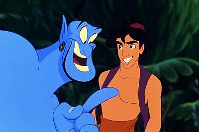 """Робин Уилиямс чудесно изиграва ролята на джина в анимационната версия на """"Аладин"""" от 1992 г."""