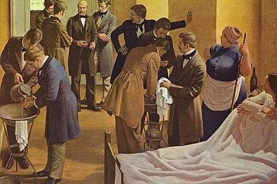 Картина на Робърт Тхом - д-р Земелвайс в средата наблюдава миене на ръце преди акушерски преглед във Виенската многопрофилна болница