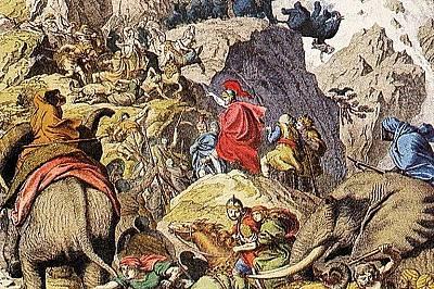 Ханибал и армията му прекосяват Алпите.