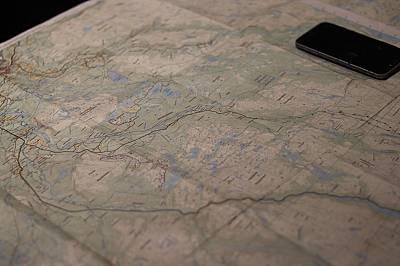 Карта на околността и маршрутите. Преминати 160 км за 5 дена