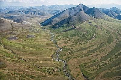 Арктическото национално убежище за диви животни и растения (Arctic National Wildlife Refuge)(ANWR) погледнати отвисоко.