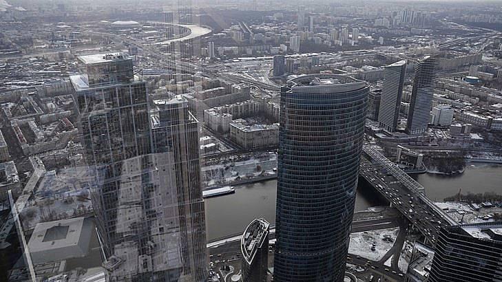 Изглед към Москва от Федералната кула в Москосвския бизнес център. Снимка: БГНЕС