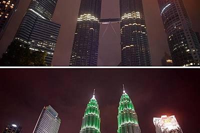 Кулите Петронас в Куала Лумпур, МалайзияКулите Петронас в Куала Лумпур, Малайзия, потънали в тъмнина на Деня на Земята (горе); обичайните им ярки свет...