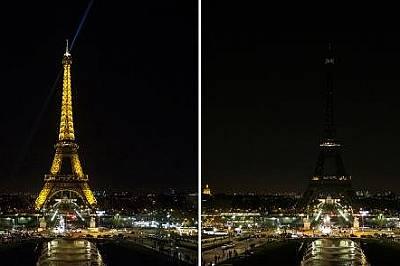 Айфеловата кулаПостроена като входна арка за Световното изложение в Париж от 1889 г. Айфеловта кула също гаси светлини за Часа на Земята. Снимката е о...