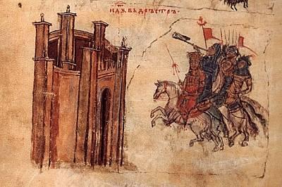 Обсадата на крепостта Дръстър (дн. Силистра) през 791 г. – миниатюра от Ватиканския препис на Манасиевата хроника. Всъщност това била пореди...