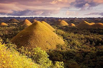 Шоколадовите хълмове, ФилипинитеПо време на дъждовния сезон Шоколадовите хълмове в Бохол, Филипините са с ярки цветове, като преобладава зеленото. Пос...