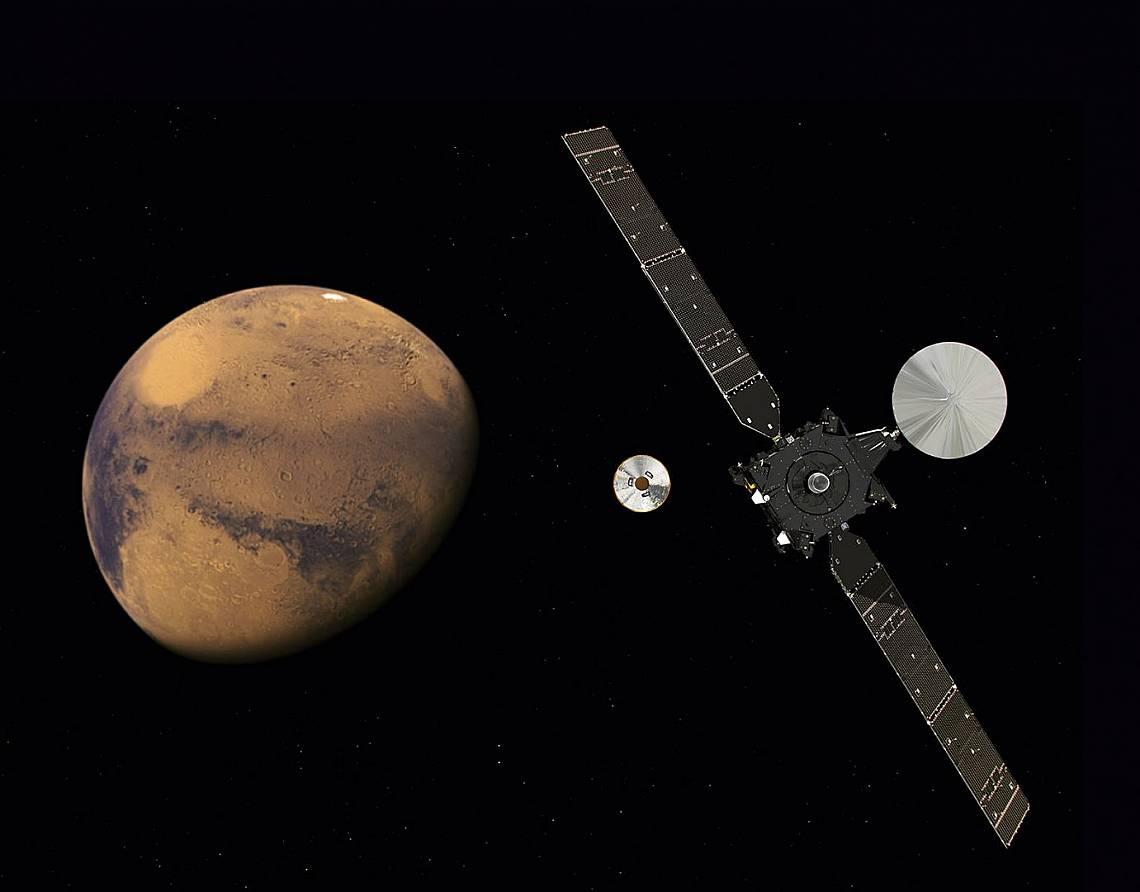 """""""Трейс Газ Орбитър"""" и """"Скиапарели"""" приближават Марс. Отделянето им се осъществи успешно на 16 октомври 2016 г...."""