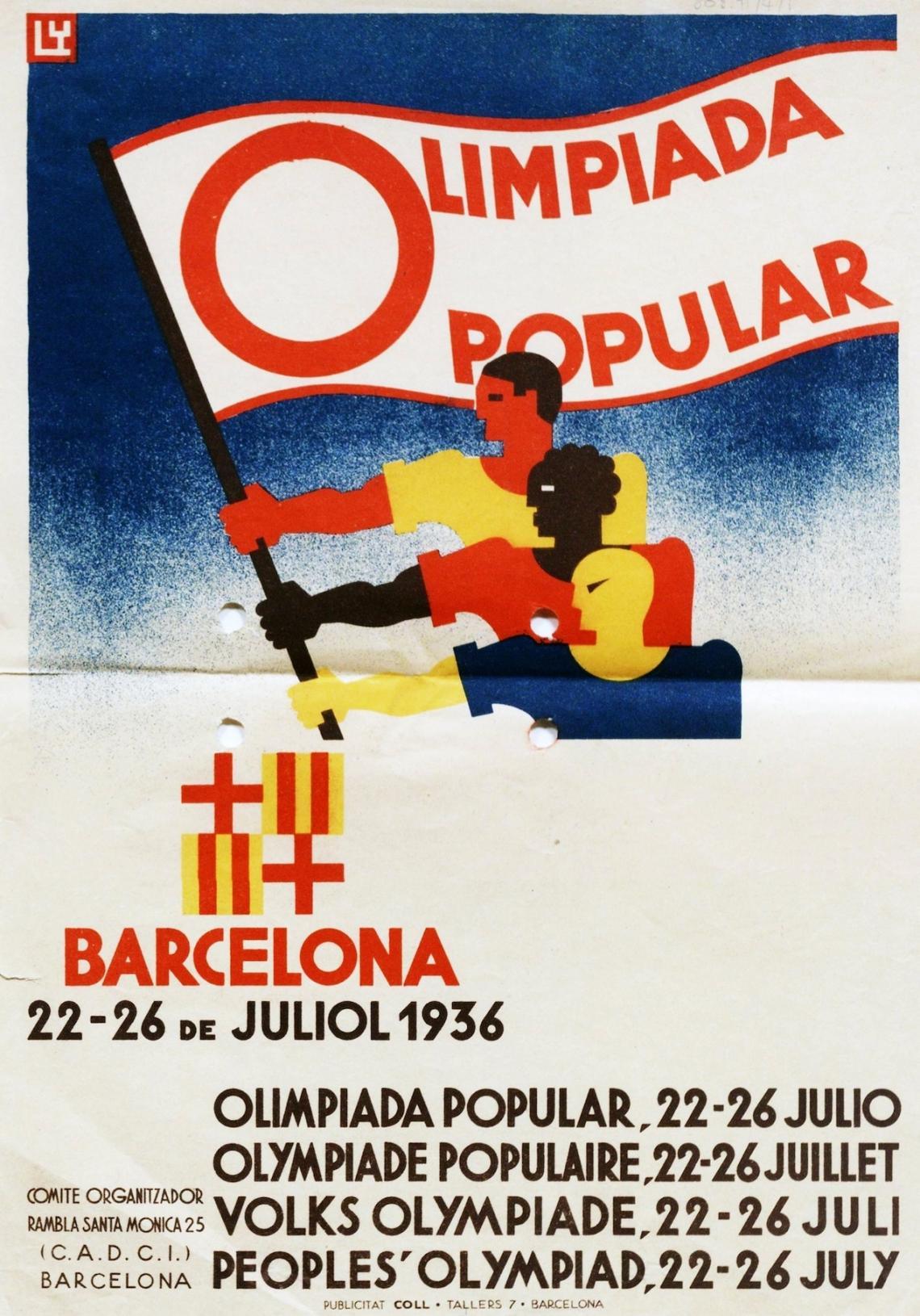 Спортисти от различни раси държат знамето на Олимпийските игри, които е трябвало да се състоят в Барселона през 1936 г. като антифашистки протест ср...