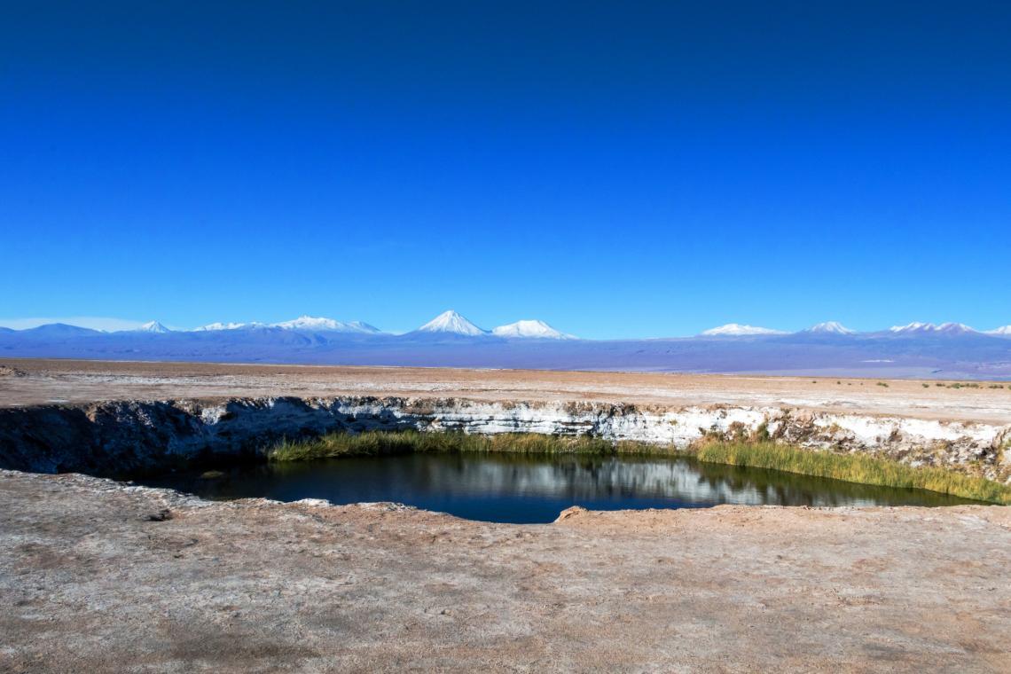 Лагуни със сладка, много дълбока вода в Атакама, Чили.
