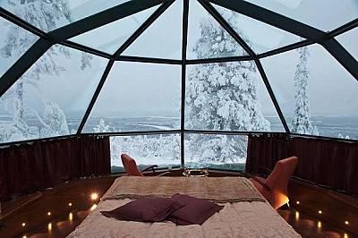 Леви, Финландия, Golden Crown Levin IglutИглу със стъклен покрив предлага панорамна гледка към Леви, Финландия. Можете да се полюбувате на северните н...