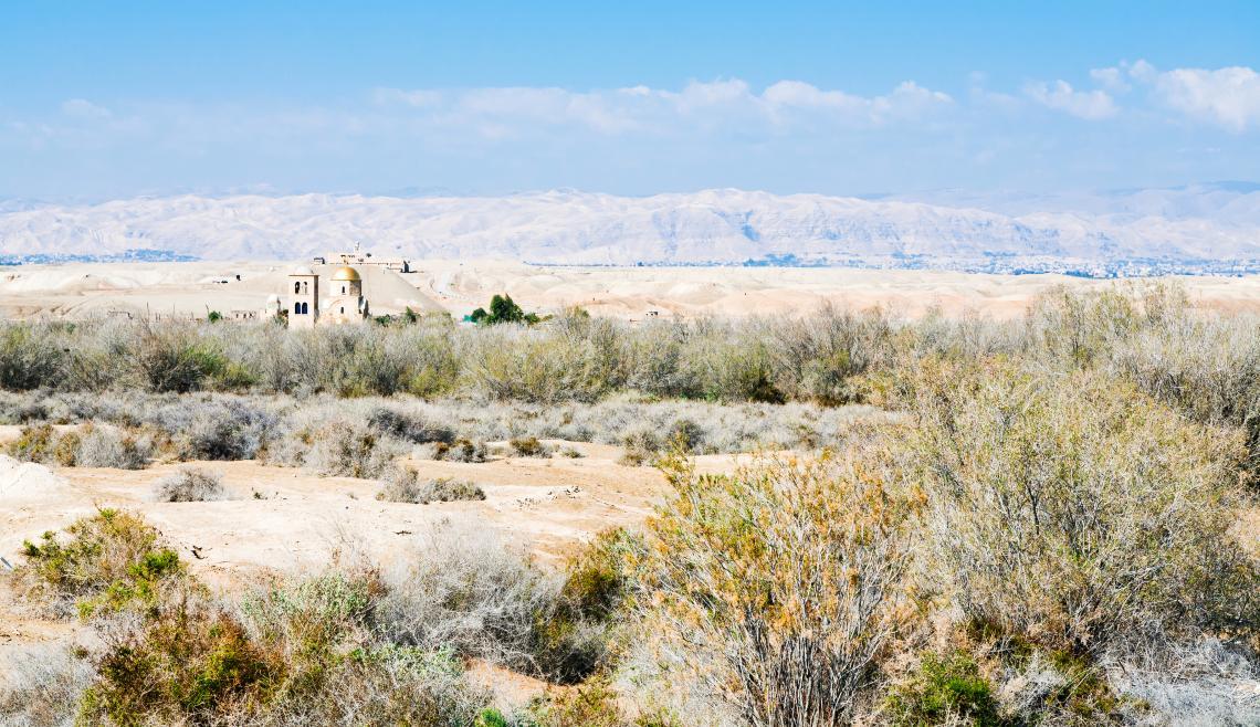"""Църквата """"Свети Йоан"""" в Палестинската пустиня, Йордания."""