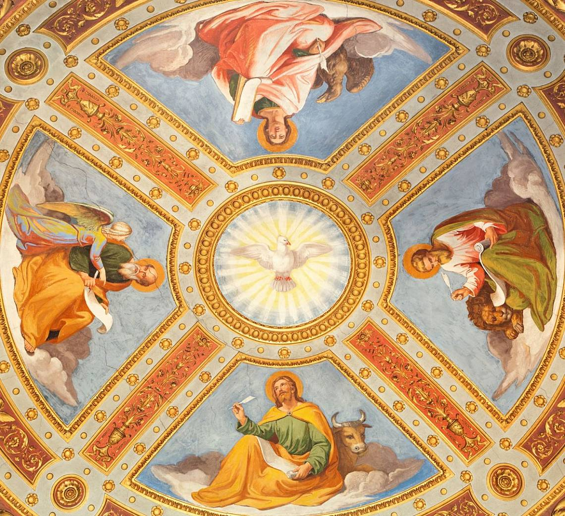 """Светият Дух и четиримата евангелисти – куполна фреска в базиликата """"Санта Мария дел пополо"""" Снимка: iStock"""