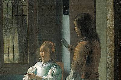 Man Handing a Letter to a Woman in the Entrance Hall of a House на Pieter de Hooch