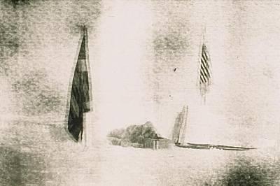 На тази снимка, вероятно направена от Хенсън, може да се види как Пири използва оборудване за ориентиране по слънцето.