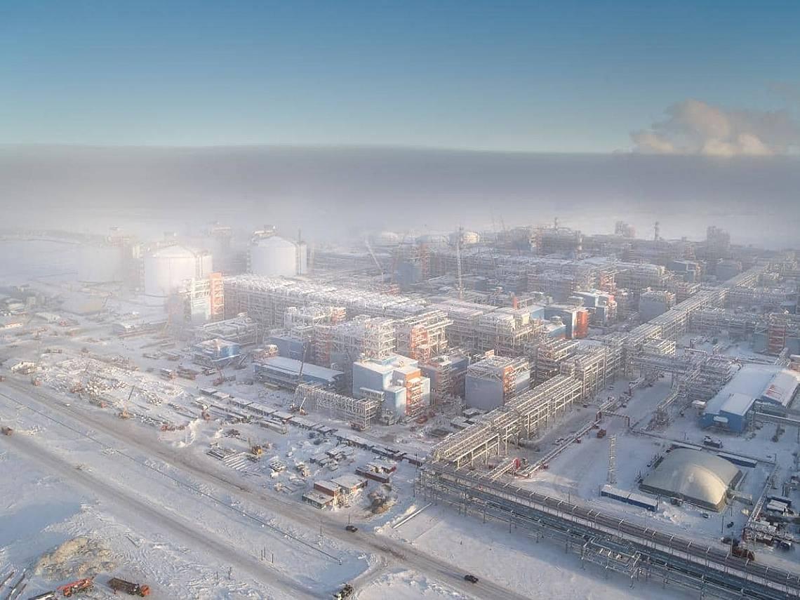 Заводът Ямал СПГ е завършен през декември 2018 г. и може да втечнява 16,5 милиона тона газ годишно. Снимка: CHARLES XELOT