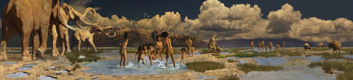 Художествено изобразяване на начина, по който е изглеждал животът на брега на изчезналото езеро Отеро преди повече от 20 000 години.