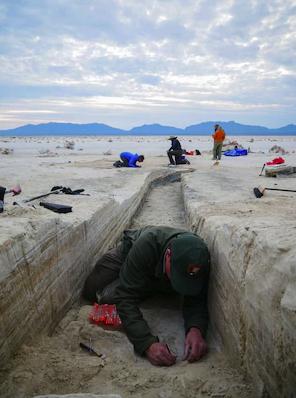 Дейвид Бустос внимателно изкопава човешките следи, заровени под много слоеве утайка.