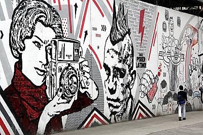 Стенопис в Богота, КолумбияСтенопис в Богота, Колумбия с автори Toxicómano, DJ Lu, Lesivo и Guache. Уличното изкуство в Богота има силен п...